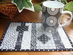 black and white mug rug - Google Search