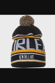 Shop Unisex USA Cities Fashion Large Letters Pom Pom Knit Hat Beanie - New Orleans Black Yellow now save up 50% off, free shipping worldwide and free gift, Support wholesale quotation! Beanies, Beanie Hats, Usa Cities, Winter Hats For Men, Spirit Wear, Large Letters, City Style, Mens Caps, Black N Yellow