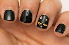 Halloween nail art! Black cat