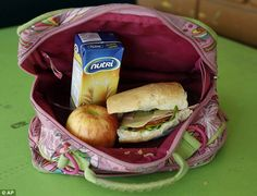 School lunches around the world: This homemade school lunch comes from Ecuador: ham, cheese and tomato sandwich, oatmeal drink and an apple.