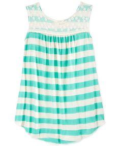BTween Girls' Lace-Top Striped Tank
