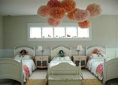 Pink Pom Poms in a Children's Room, Remodelista Triplets Bedroom, Girls Bedroom, Bedroom Decor, Bedroom Ideas, Trendy Bedroom, Bedroom Themes, Pom Poms, Childrens Room, Ideas Habitaciones
