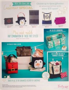 Thirty One Gifts December 2015 Customer Specials while supplies last My Thirty One, Thirty One Bags, Thirty One Gifts, 31 Party, Host A Party, Thirty One Business, Thirty One Consultant, 31 Gifts, 31 Bags