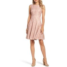 Petite Women's Eliza J Lace Fit & Flare Dress ($148) ❤ liked on Polyvore featuring dresses, petite, pink, pink dress, lace cocktail dresses, white fit and flare cocktail dress, white skater skirt and lace dress