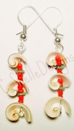 Seashell Earrings beach earrings in green an by cshelledesigns