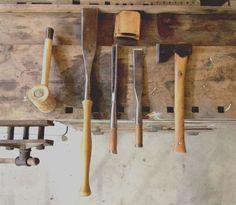 """Timber framing basics: Rawhide mallet, Barr 3"""" Slick, Barr corner chisel, Barr 1.5"""" framing chisel, Gransfors Bruks Carpenter's Axe"""