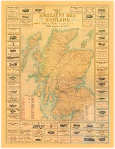Distillery Map of Scotland - cool map, but expensive, could make one myself like this