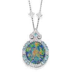 Platinum, Black Opal, Diamond and Tourmaline Necklace