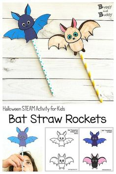 Flying Bat Straw Rockets- Halloween science, STEM, and STEAM activity for kids with free printable bat template PDF (in both color and black and white). Explore physics with these gliding bats. Lots of fun and easy to create! #halloween #halloweenscience #halloweenstem #scienceforkids #scienceprojects #freeprintables #bats #batscience #handsonlearning #physics #physicsforkids #stellaluna Halloween Science, Theme Halloween, Halloween Crafts For Kids, Halloween Stuff, Halloween Labels, Homemade Halloween, Spooky Halloween, Vintage Halloween, Halloween Pumpkins
