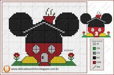Mickey Mouse Home saved Disney Stitch, Cross Stitch Baby, Cross Stitch Charts, Cross Stitching, Cross Stitch Embroidery, Disney Quilt, Disney Cross Stitch Patterns, Mickey Mouse And Friends, Disney Crafts