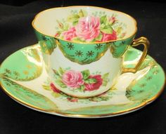 EB FOLEY PINK & RED ROSES GREEN /GOLD