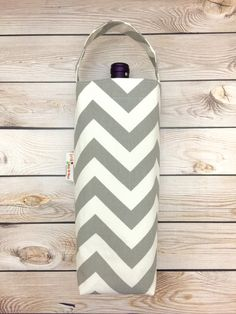 Wine Tote Bag, Wine Carrier, Wine Gift Bag, Canvas Wine Tote, Chevron Wine Tote Bag by LittleMissPoBean on Etsy