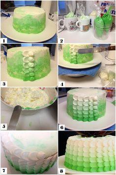 Trang's Kitchen - Green Ombre Petal Cake & Chocolate Rose