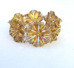 Bracelet Silver Filigree Lace Gold Plate by AsYouLikeItVintage