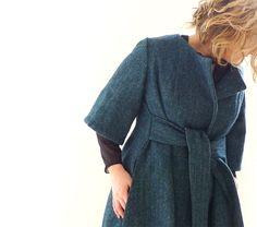 Blue/Green Hebridean Wool Tweed Wrap Coat - Etsy.