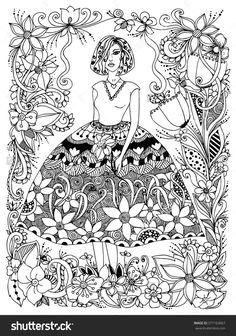 girl holding flower zentangle in lush dress, flowers, doodle, zenart adult coloring page