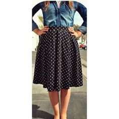 @lularoebyana is rocking this black and white polkadot Madison skirt!!! It's a unique and simple ensemble. A denim button up adds a little bit of contrast to the flow and flirty vibe the Madison skirt gives off! We love it Ana!!! How do you wear your Madison skirt? Let us know below in the comment section!!! ❤️❤️❤️ #madisonskirtweek #lularoe #weloveana