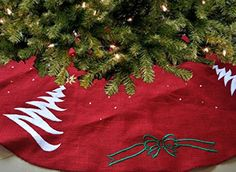 Handcrafted Christmas Tree Skirt Red Burlap Embroidered Christmas Holiday Decoration Holiday Season Santa Claus Red Gold Green White (25 inches) Amore Beaute http://smile.amazon.com/dp/B015LZR1SM/ref=cm_sw_r_pi_dp_hqZswb0E2FDZ7