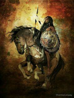 Guerrero indio y su caballo