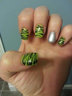 Green zebra print nails