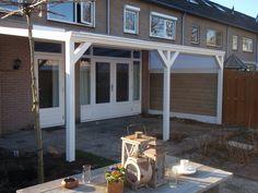 Veranda, terrasoverkapping, aluminium, maar hout kan natuurlijk ook, klassieke stijl door schoren, geeft sfeer in de tuin, Tuinmani