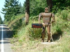 robot mailbox holder