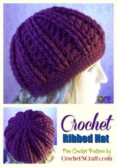 Free crochet pattern for a crochet ribbed hat. The slightly slouch hat pattern features a beautiful stitch pattern with shells and ribs. #freecrochetpattern #hat #ribbed #shells #crochetncrafts