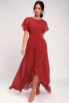 The Ali & Jay Bohemian Rhapsody Brick Red Cutout High-Low Dress looks like it twirled out of our daydreams and into reality! Chiffon dress with high-low hem.