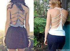 Veja como cortar uma camiseta para o verão. Um corte diferente para fazer nas costas da sua camiseta.