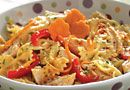 Satay Chicken Pasta Salad - The Pampered Chef. Add shredded purple cabbage and shredded carrots pre-bought. Lifts the color of salad. Pampered Chef Recipes, Meat Recipes, Salad Recipes, Vegetarian Recipes, Chicken Recipes, Cooking Recipes, Dishes Recipes, Pasta Recipes, Main Dish Salads