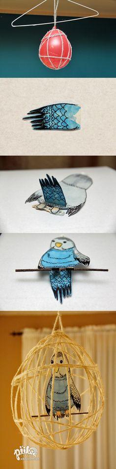 Cage à oiseau en fil collé