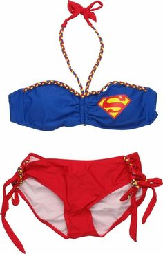 84357264c8e51 Superman Color Braid Bandeau Bikini Swimsuit