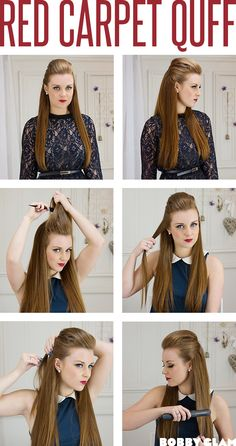 How much do you ♥ this red carpet quiff hair tutorial?...the style is inspired by Kim Kardashian who's hair always looks good :)