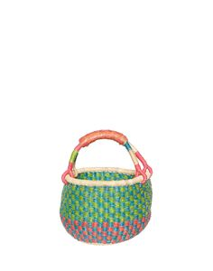 This colorful hand-woven basket is made in a miniature size so your little one can carry her own fruit home from the farmers market.