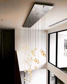 High Ceiling Lighting, Ceiling Lights, Custom Lighting, Lighting Design, Home Office Lamps, Drop Lights, Living Room Lighting, Modern Chandelier, Modern Minimalist