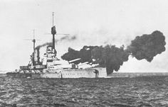 In the absence of the 15 in 'Bayerns' (still under construction) the 12 in 'Konigs' were the most modern German battleships at Jutland in 1916.  This is SMS Markgraf exercising her guns earlier that year - her wreck remains one of three still the bottom of Scapa Flow after the mass scuttling of the High Seas Fleet in June 1919.