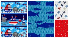 Quick Cuts Cotton Quilt Fabric Anchors Away Nautical Coordinated 2 Yard Medley - AUNTIE CHRIS QUILT FABRIC. COM