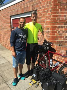 Luke rocking the Love Southsea with uncle Dom Findon as he set off on his RTW cycling adventure