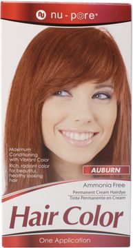 Nu-Pore Hair Color, Auburn  Nu-Pore Hair Color uses an ammonia free permanent cream to provide maximum conditioning with vibrant color. Use Nu-Pore for rich, radiant, long lasting color and beautiful healthy looking hair.