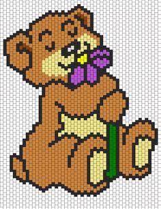 Teddy Bear Smelling A Flower bead pattern