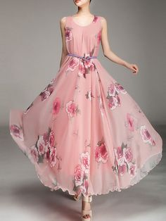 Round Neck Belt Floral Chiffon Maxi Dress