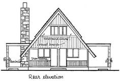 A-Frame Cabin Contemporary Rear Elevation of Plan 43048