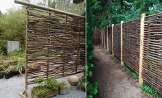 use wattle as a fencing material A really cheap and simple idea is to use wattle as a fencing material. The inspiration comes from England where the wattle fencing was originally woven with willow or hazel branches. You can incorporate a variety of twigs, reeds r branches to get the look you want.{found on apartmenttherapy}.