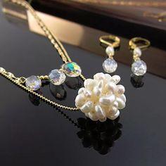 1cf990735606 Collar cadena perlas cultivadas perlas de agua y cristal cadena oro  goldfilled