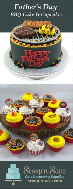 Spoil dad with a fun cake and cupcakes that looks like bbq with hamburgers and hotdogs. Fondant Cakes, Cupcake Cakes, Fathers Day Cake, Fathers Day Cupcakes, Cupcakes For Men, Bbq Cake, Summer Cakes, Cake Decorating Supplies, Cake Designs