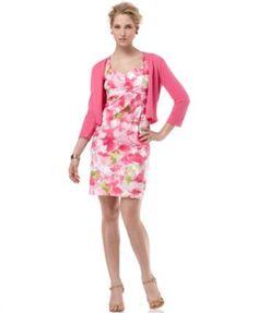 AK Anne Klein Dress, Sleeveless Floral Sheath with Cardigan