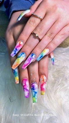 Cute Acrylic Nail Designs, Best Acrylic Nails, Summer Acrylic Nails, Marble Nail Designs, Summer Stiletto Nails, Dope Nail Designs, Marble Nail Art, Summer Nails, Rave Nails
