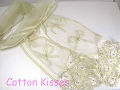 ANTIQUE Brussels Tambour Point HANDMADE Lace LAPPET Scarf BOWS ROSES MAGNIFICENT