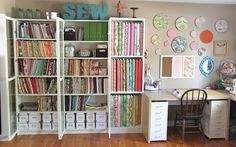 See what a little organization can do? Better than piles on horizontal surfaces....  Smashed Peas and Carrots: My Sewing Studio Tour-The Reveal!