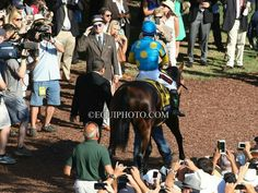 Actor Bill Murray salutes American Pharoah at the Haskell at Monmouth Park, New Jersey.